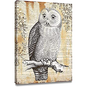 """ArtKisser Original Painting of Owl Pictures on Canvas Wall Art Framed Ready to Hang for Bedroom Living Room Decoration 12"""" Wx16 L"""