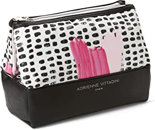 Adrienne Vittadini Cosmetic Makeup Bags: Compact Travel Toiletry Bag - (Pink Print)