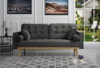 Mid-Century Modern Tufted Velvet Fabric Sofa (Dark Grey)