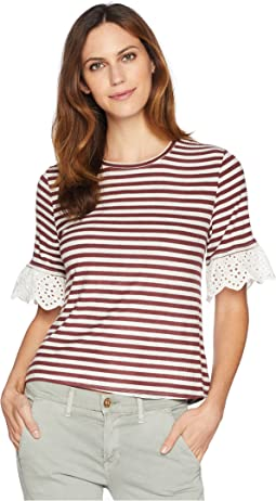 Shay Stripe Tee with Lace Sleeve