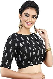 MADHU FASHION's Women's Readymade Black Ikat Print Pure Cotton Blouse