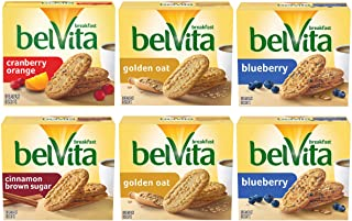 Belvita Breakfast Biscuits Variety Pack, 4 Flavors, 6 Boxes of 5 Packs (4 Biscuits Per Pack)