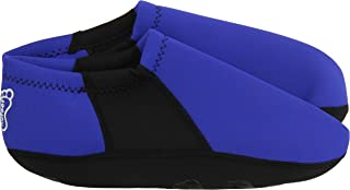 NuFoot Booties Men's Shoes, Best Foldable & Flexible Footwear, Fold and Go Travel Shoes, Yoga Socks, Indoor Shoes, Slippers, Royal with Black Stripe, Extra Large