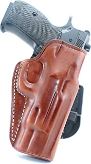 Premium Leather OWB Paddle Holster with Open Top Fits CZ 75/75B/85/P01/P06/P07/SP01, Right Hand Draw, Brown Color