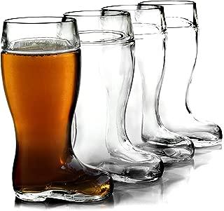 Stolzle Biersiefel 1 Liter Glass Beer Boot, Set of 4