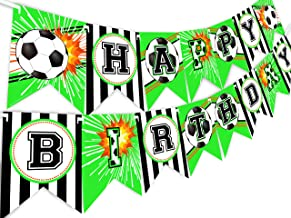 Soccer Happy Birthday Banner Pennant - Soccer Party Supplies - Soccer Decorations - Banner