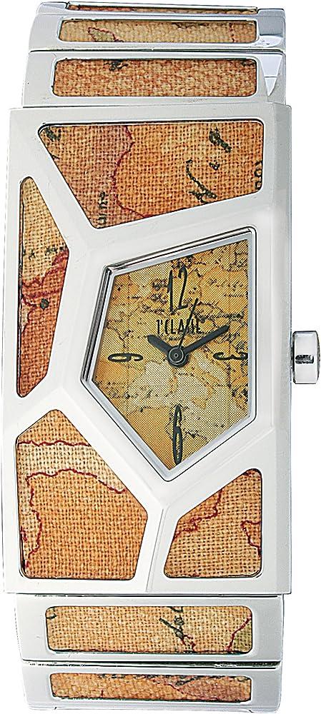 Alviero martini, orologio per donna, in acciaio con ritagli di tela geo-design PCD 762B/VM