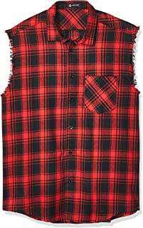 Sleeveless Casual Shirt for Men,Cowboy Plaid Button Down Shirts