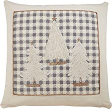"Saro Lifestyle Tamora Collection Plaid Christmas Trees Pillow With Down Filling, 18"", Grey"