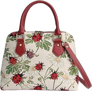 Signare Tapestry Handbag Satchel Bag Shoulder bag and Crossbody Bag and Purse for women with Ladybug and Flower (CONV-LDBD)
