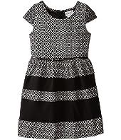 Us Angels - Aztec Double Knit Cap Sleeve w/ Belt & Fabric Block Skirt (Big Kids)