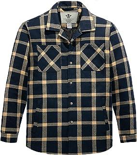 WenVen Men's Long Sleeve Fleece Lined Button Down Plaid Flannel Jacket