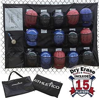 Athletico 15 Player Dugout Organizer - Hanging Baseball Helmet Bag to Organize Baseball Equipment Including Gloves, Helmet...