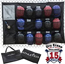 Athletico 15 Player Dugout Organizer - Hanging Baseball Helmet Bag to Organize Baseball Equipment Including Gloves, Helmets, Batting Gloves, Balls, More