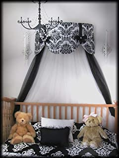 Crib Canopy Nursery Bed Crown Cornice Teester Swag Suzette Bows Damask Bedroom FrEE Curtains Baby Girls Custom Design So Zoey Boutique SALE