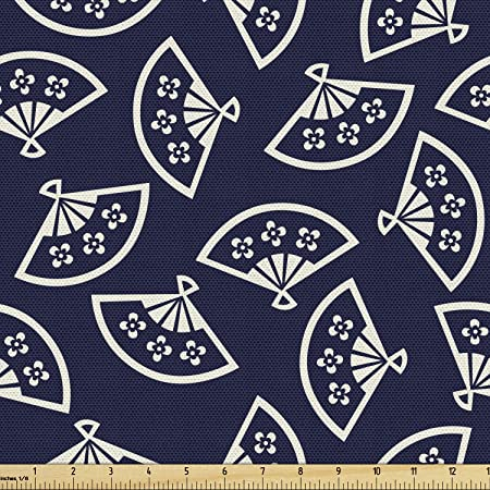 Ambesonne Geometric Fabric By The Yard Hand Fan Pattern East Culture Inspirations Oriental Motif Kimono Design Decorative Fabric For Upholstery And Home Accents 1 Yard Blue Cream