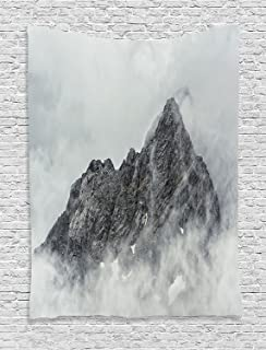 Farmhouse Decor Tapestry, Landscape of Jade Dragon Mountain Atmosphere on Summit Asian Natural Beauty, Wall Hanging for Be...