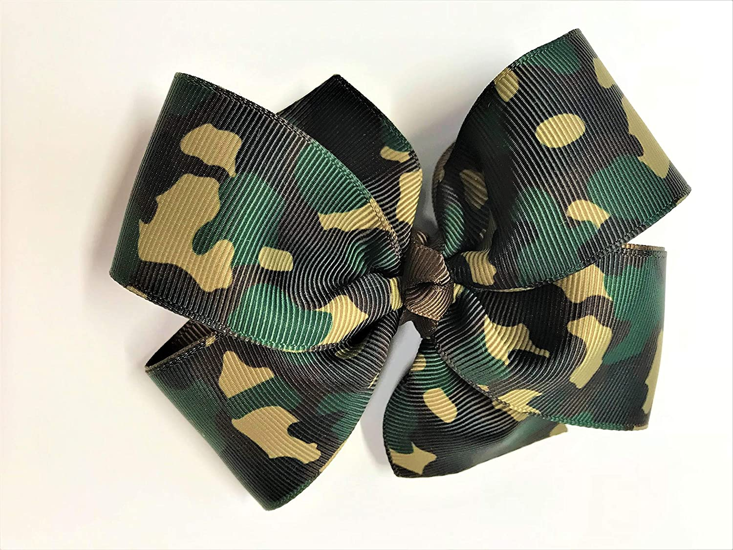 Girls Military Max 67% OFF Camouflage Hair Clip Camo Te Free shipping / New Green Bow Brown