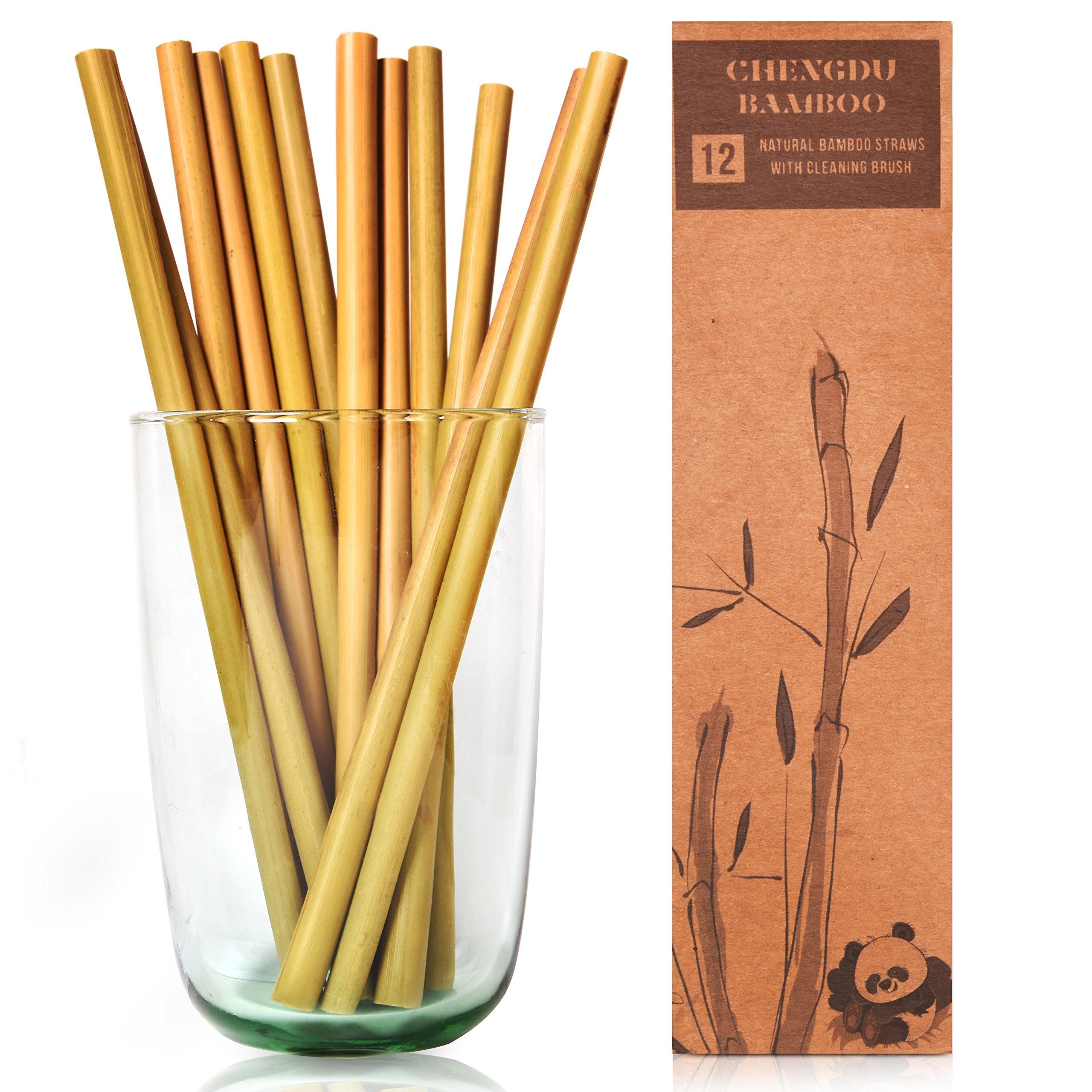12 pajitas de bambú reutilizables:pajitas de 20 cm de largo de ...