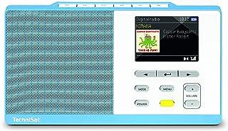 TechniSat DIGITRADIO KIRA 1   tragbares DAB Radio (DAB+, UKW, Radiowecker, Farbdisplay, Favoritenspeicher, Kopfhöreranschluss, sechs frei belegbare Direktwahltasten) hellblau/weiß