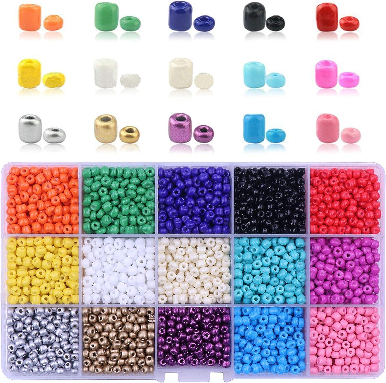 YAKA 15 Color 2021 Over item handling ☆ new Beading Glass Seed 3700PCS Bulk- 4mm Beads K