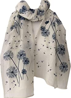 7499ec463c5e8 Cream Floral Scarf Ladies Ivory Navy Blue Flowers Wrap Dandelion Flower  Shawl