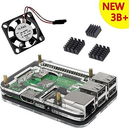 For Raspberry Pi 3 Model B+ Plus Kit 二重冷却キット ケースセット ヒートシンクファン (黑3b+)