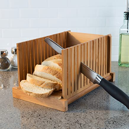 Classic Cuisine 82-KIT1064 Bamboo Bread Slicer- Foldable, Adjustable Knife Guide and Board for Cutting Loaves Evenly- Perfect Food Prep Tool for Home Bakers