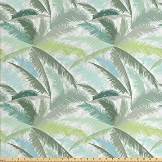Ambesonne Palm Tree Fabric by The Yard, Leafy Branches in Shades of Green Tropical Summer Nature Rainforest Island Jungle, Decorative Fabric for Upholstery and Home Accents, 1 Yard, Pale Seafoam