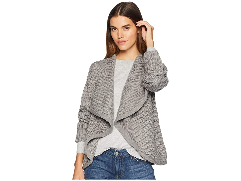 BB Dakota Just Got Back Drape Front Sweater (Medium Heather Grey) Women