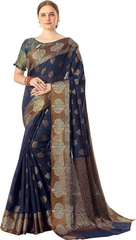 Indian Soru Fashion Women's Pure Cotton Kanjivaram Silk Sarees with Unstitched Blouse Piece Saree