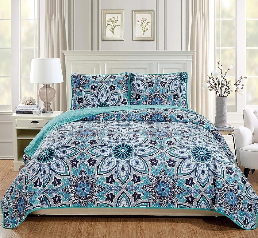 痛み予測子大きいFancy Linen ベッドスプレッドキルト3点セット オーバーサイズ ベッドカバー 花 ターコイズ ネイビーブルー グレー ホワイト Full/Queen ブルー