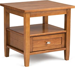 Simpli Home Warm Shaker Solid Wood 20 inch wide Rustic End Side Table in Honey Brown
