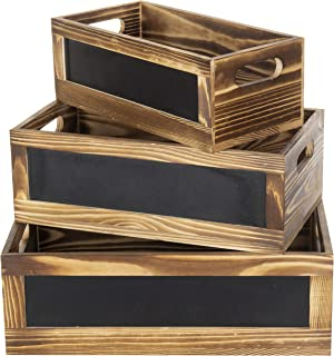 MyGift Rustic Burnt Wood Nesting Storage Crates with Chalkboard Front Panels, Set of 3
