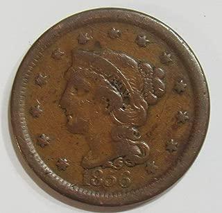 1856 P Large Cent 1c Fine+