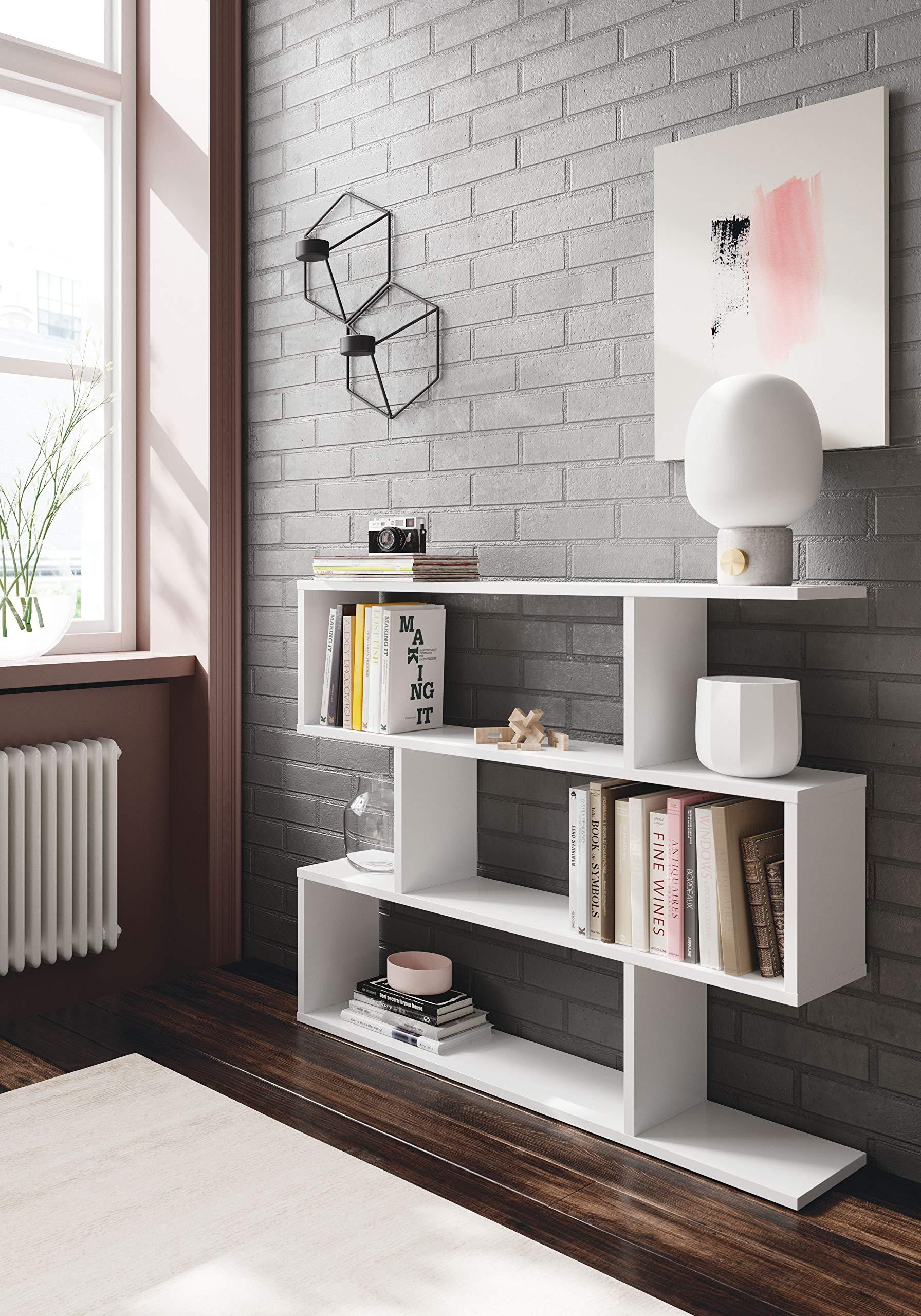 Colore Bianco EGLEMTEK Libreria Friburgo Design Scaffale Mensola Moderna Bianca Mobile per Libri con Ripiani per Soggiorno Salotto 110 x 97 x 25 cm