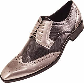 Mens Two Tone Metallic Faux Lizard Skin Wingtip, Comfortable Lace-Up Oxford Tuxedo Dress Shoe