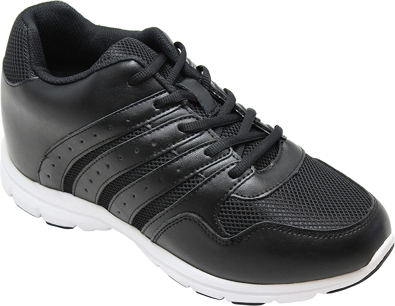 CALTO Men's Invisible Height Increasing Elevator shoes - Black Leather Mesh Lace-up Lightweight Sporty Trainer Sneakers - 3.2 Inches Taller - G8817