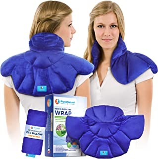 Neck and Shoulder Wrap - Natural Moist Heat Therapy for Muscle Pain, Tension Relief, Aches, Migraines, Headaches, and Arth...