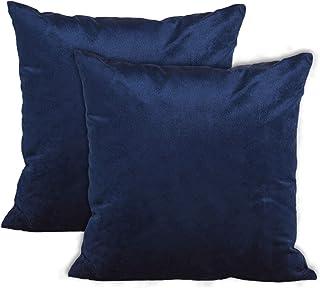 Encasa Homes poszewki na poduszki z aksamitu – zestaw 2 sztuk (60 x 60 cm) – niebieski morski – jednolity kolor, miękkie i...