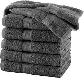 HomeLabels 100% Cotton 6 Pack Charcoal Bath Towels 24x48 for Hotel Spa Gym Pool Yoga - Lightweight Soft Absorbent Quick Drying - Multipurpose Pool Gym Bath Towel Set