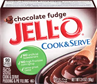 JELL-O Chocolate Fudge Cook & Serve Pudding & Pie Filling Mix (3.4 oz Box, Pack of 6)