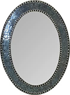 DecorShore 32.5 in. x 24.5 in. Decorative Wall Mirror, Oval Frame, Colorful Crackled Glass Mosaic Decorative Wall Mirror, Vanity Mirror, Powder Room Mirror in Jewel Tone Colors by (Black/Gray)