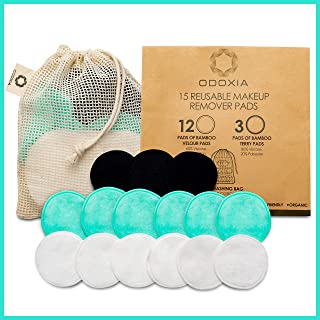 Reusable Makeup Remover Pads   Zero Waste Eco-Friendly Rounds   15 Natural Organic Double Layered Bamboo Pads Face with Laundry Bag   Super Soft for All Skin Types   Bamboo Cloths for Facial Cleansing
