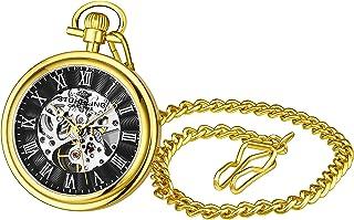 Stuhrling Original Mens Vintage Mechanical Pocket Watch - Stainless Steel Pocket Watch with Chain Analog Skeleton Watch Ha...