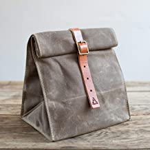 product image for Wax Canvas Lunch Tote w/Buckle (Dark Khaki)