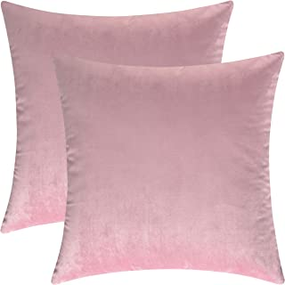 Mixhug Decorative Throw Pillow Covers, Velvet Cushion Covers, Solid Throw Pillow Cases for Couch and Bed Pillows, Light Pink, 20 x 20 Inches, Set of 2