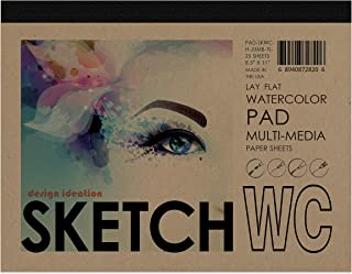 "Design Ideation Lay Flat Watercolor Sketch Pad. Removable Sheet Sketchbook for Pencil, Ink, Marker, Charcoal and Watercolor Paints. Great for Art, Design and Education. 8.5"" x 11"""