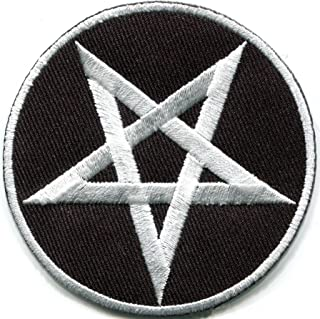 Pentagram Pentacle Satanic Occult Goth Wicca Wiccan Witch White on Black DIY Embroidered Applique Iron-on Patch S-1125