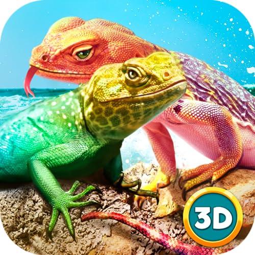 Wild Lizard Simulator 3D: Animal Dash Predator Game   Exotic Animal Tropical Forest Survival Simulator